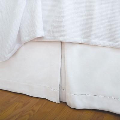 EY Essentials Hemstitch White King Bed Skirt