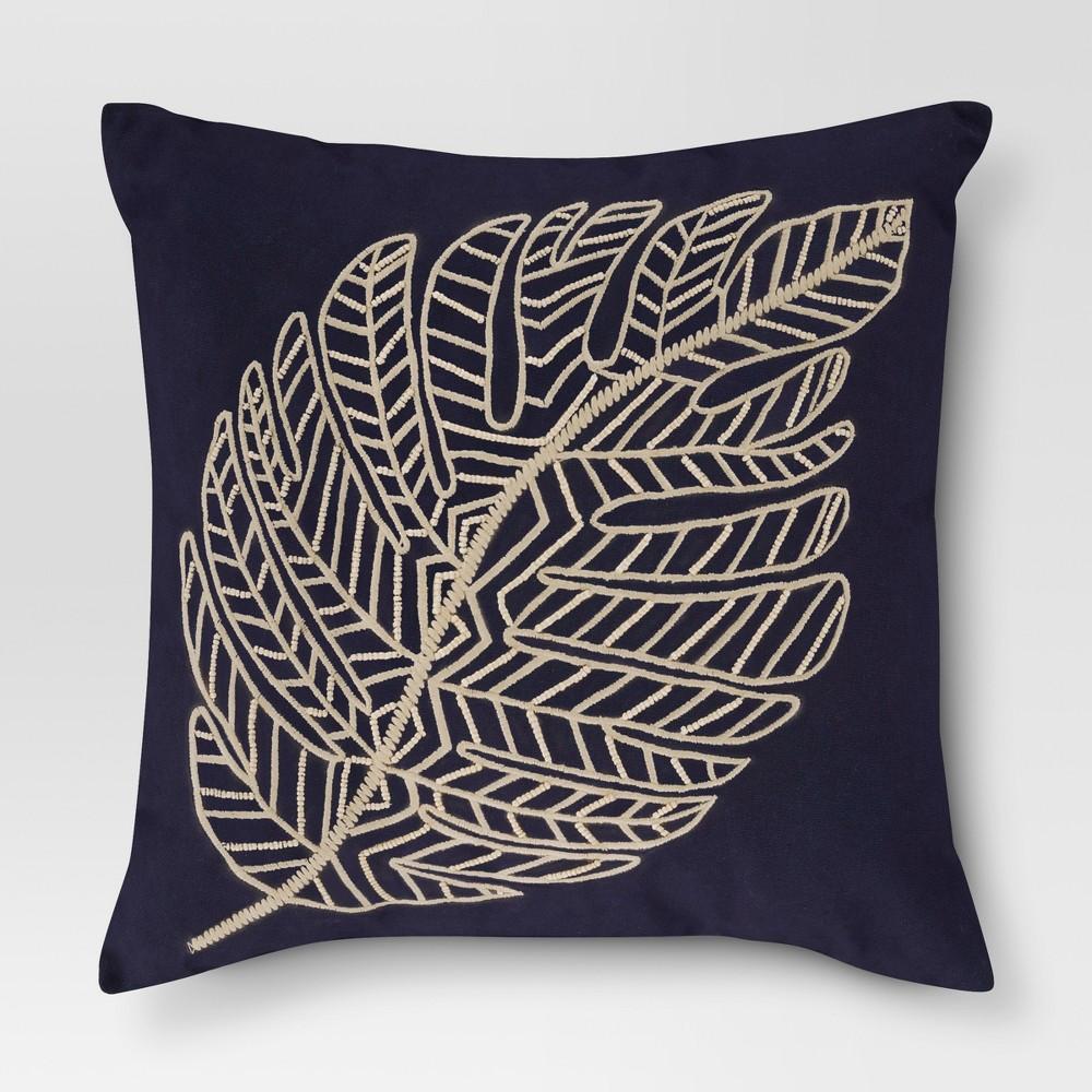 Blue Leaf Throw Pillow - Threshold
