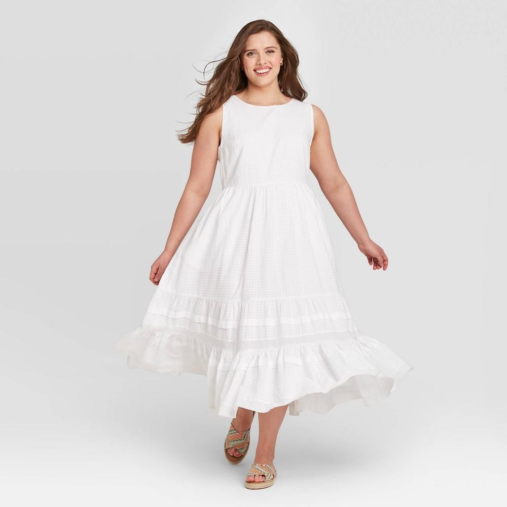 Women's Sleeveless Pintuck Dress - Universal Thread White L was $39.99 now $27.99 (30.0% off)