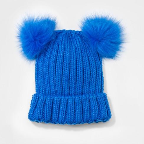 020e8b35801 Girls  Faux Fur Pom Beanie - Cat   Jack™ Blue One Size   Target