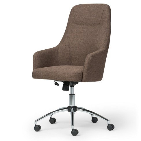 Zane Swivel Office Chair Linen Look Fabric Brown - Wyndenhall - image 1 of 5
