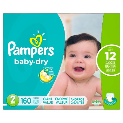 Pampers Baby Dry Diapers, Giant Pack - Size 2 (160 ct)