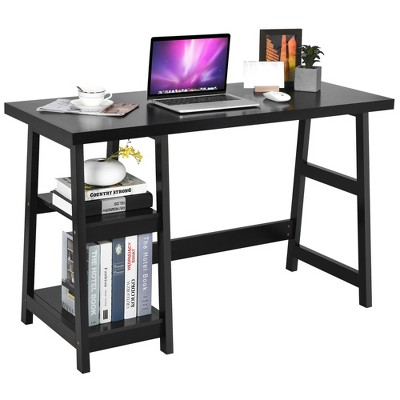 Costway Trestle Computer Desk Home Office Workstation w/Removable Shelves Vintage BlueWhite