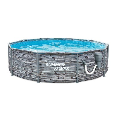 Summer Waves Active 8 Foot x 30 Inch Stone Slate Print Metal Frame Above Ground Swimming Pool Set with Filter Pump, Type I Cartridge, and Repair Patch