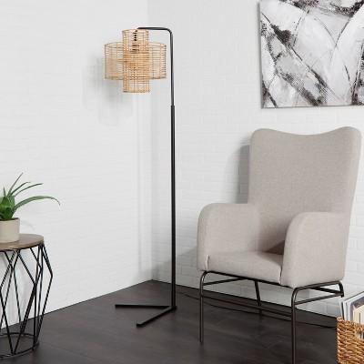 "70"" Cyndi Hangover Silverwood Floor Lamp (Includes LED Light Bulb)Black/Tan - Decor Therapy"
