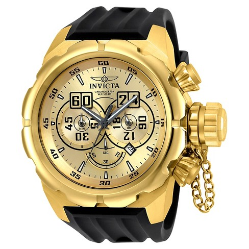 Men's Invicta 21628 Russian Diver Quartz Multifunction Gold Dial Strap Watch - Black - image 1 of 1