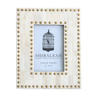 """4""""×6"""" Studded Picture Frame  - Brown - Shiraleah"""