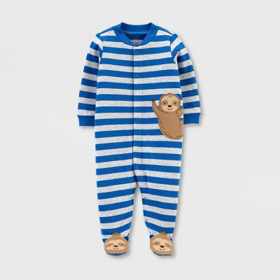 Baby Boys' Stripe Sloth Interlock Sleep 'N Play 1pc Pajama - Just One You® made by carter's Blue Newborn