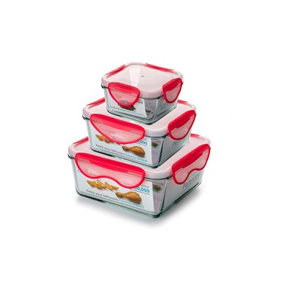 ClipFresh Set of 3 Food Storage Container Red