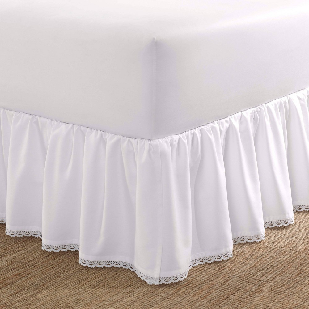Image of Laura Ashley Queen Crochet Ruffle Tailored Bedskirt White