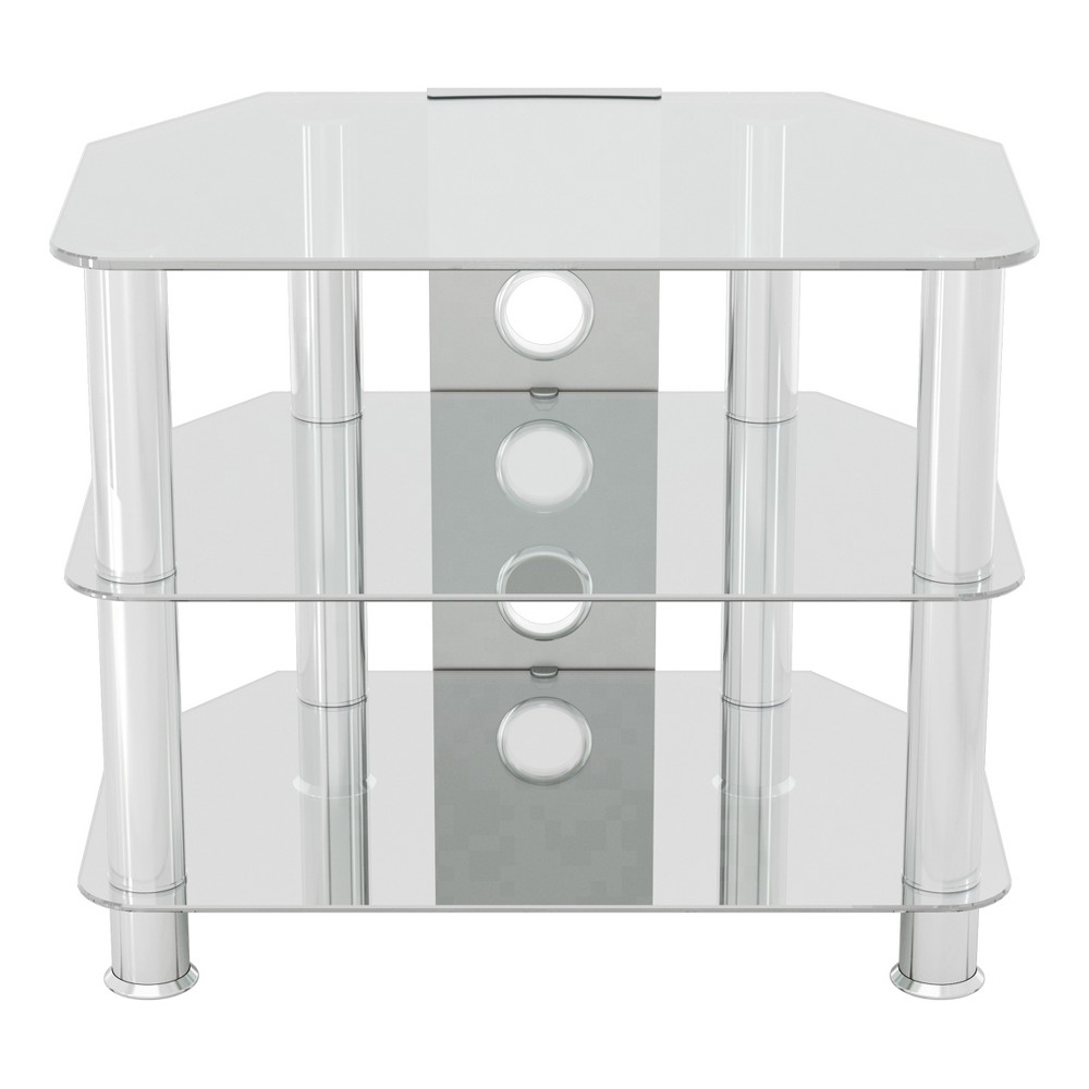 "Image of ""32"""" TV Stand with Cable Management - Silver/Clear"""