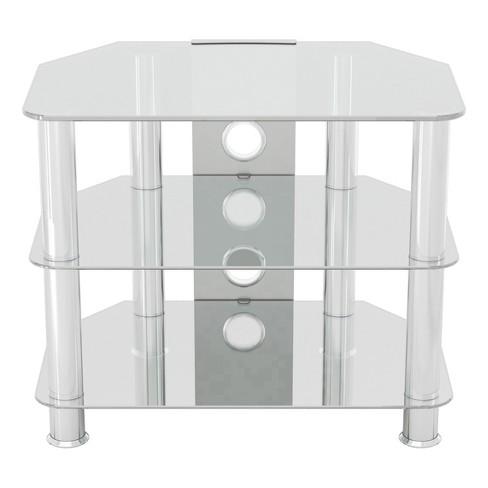 32 Classic Corner Glass Tv Stand Chrome Effect Clear Glass Avf