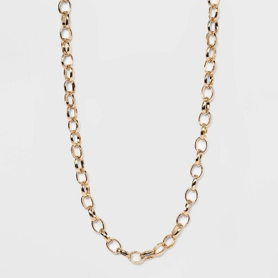 Long Metal Chain Link Necklace - A New Day™ Gold