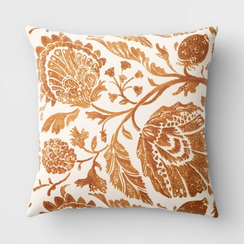 Square Floral Printed Jacobean Throw Pillow - Threshold™ - image 1 of 4