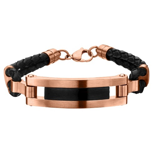 "Men's Steel Art Stainless Steel Rose Gold and Black IP with Black Leather Bracelet (8.5"") - image 1 of 1"