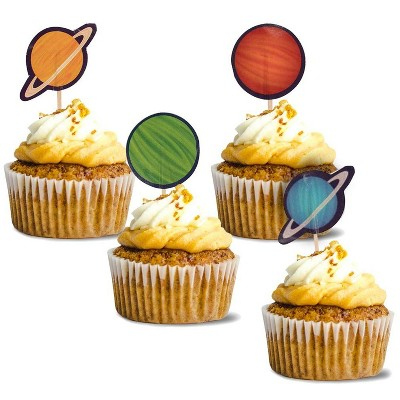 Juvale 200-Pack Outer Space Planets Cupcake Decoration Cake Toppers Food Picks, 4 Designs , 1.2 x 3 in