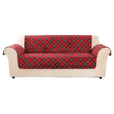 Marvelous Red Furniture Flair Tartan Plaid Sofa Cover   Sure Fit