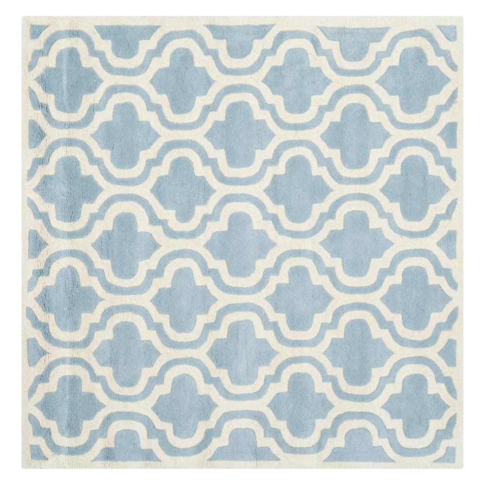 5'X5' Quatrefoil Design Tufted Square Area Rug Blue/Ivory - Safavieh