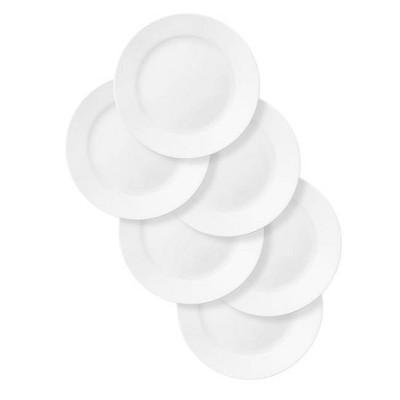 """Corelle 11"""" 6pk Glass Rimmed Dinner Plates White"""