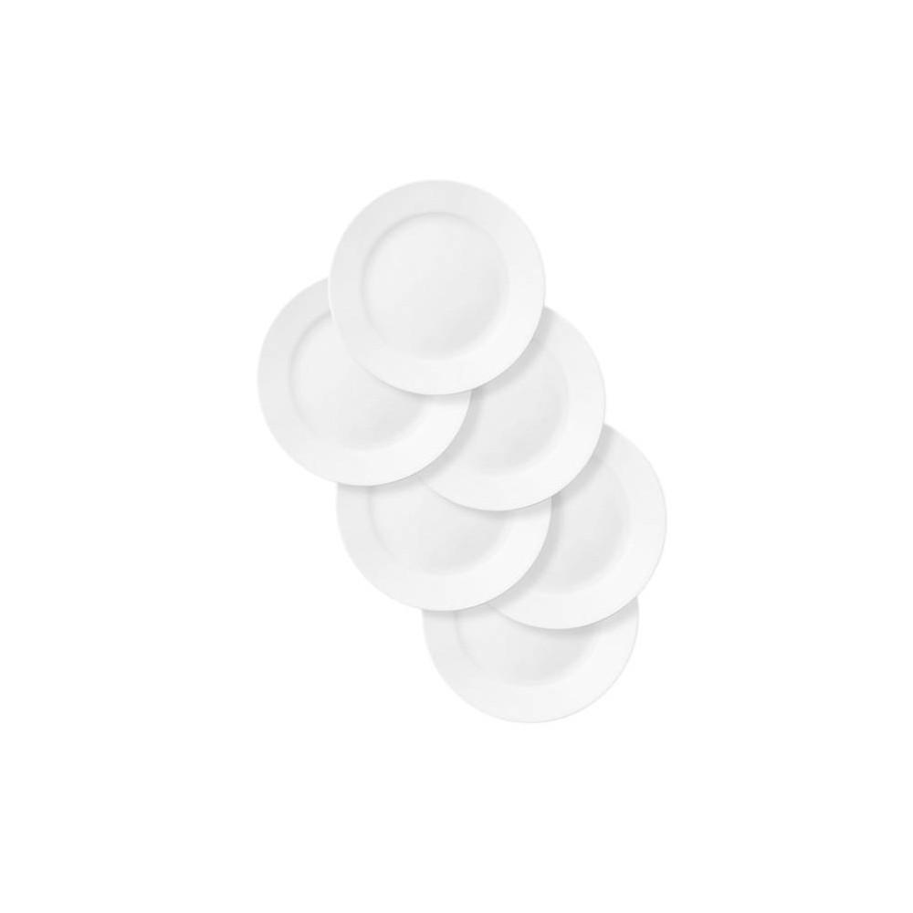 """Image of """"Corelle 11"""""""" 6pk Glass Rimmed Dinner Plates White"""""""