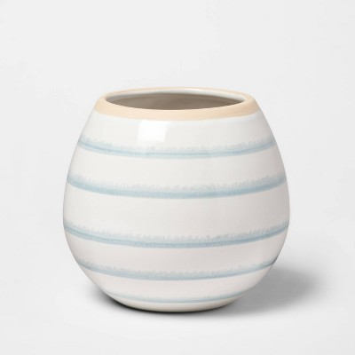 "5.2"" x 4.7"" Stoneware Striped Vase Blue/White - Threshold™"