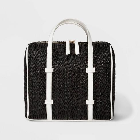 5d5f6da818731 Wicker Satchel Handbag - Who What Wear™ Black
