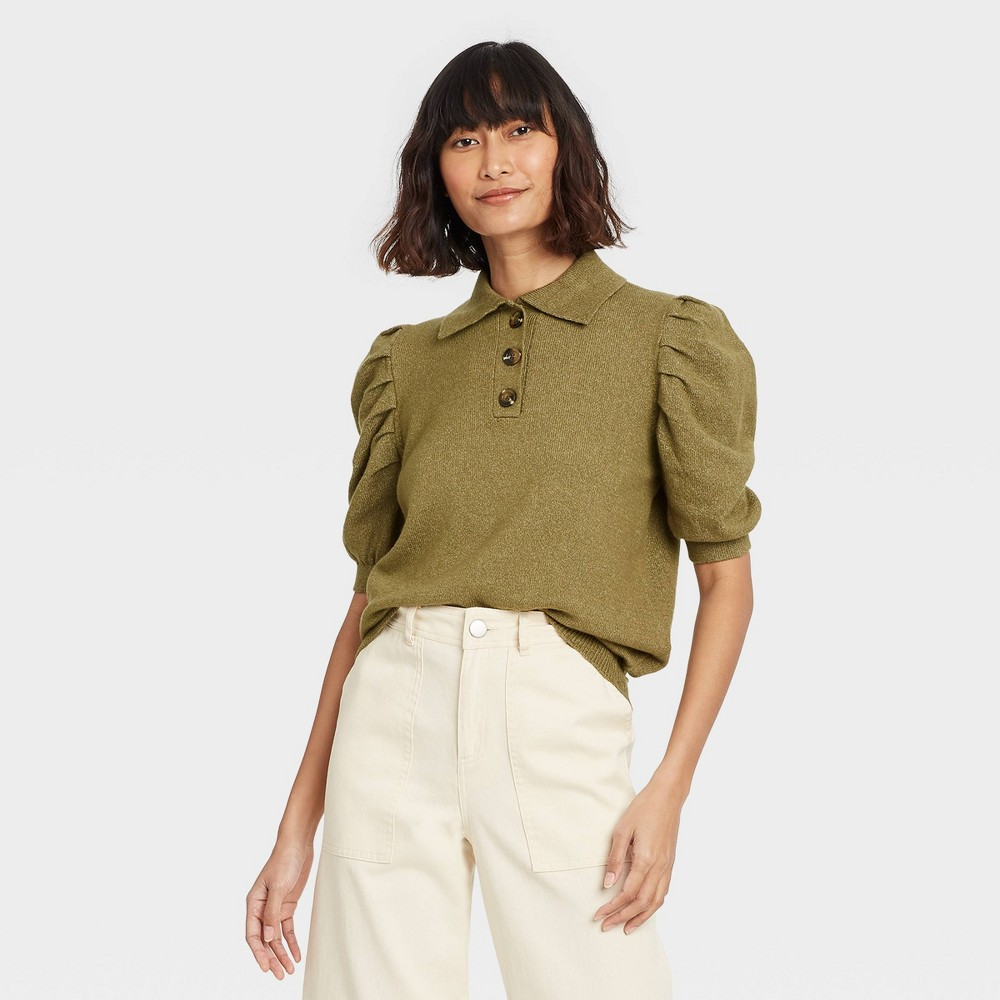 Women 39 S Puff Elbow Sleeve Crewneck Pullover Sweater Who What Wear 8482 Green S