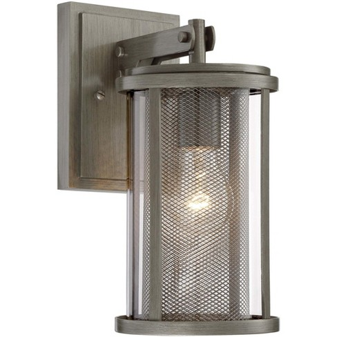 Outdoor Cylinder Collection 1 Light Painted Brushed Nickel Ceiling Fixture New