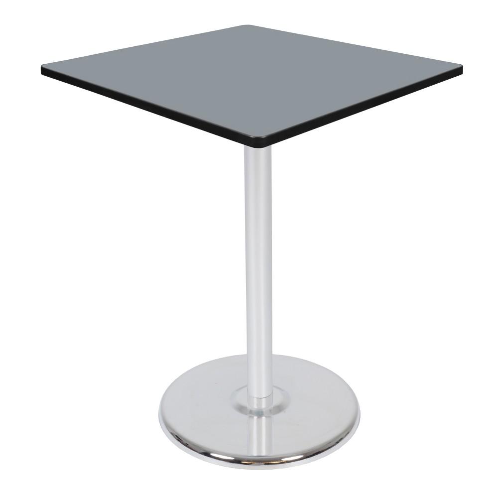 36 Via Cafe High Square Platter Base Table Gray/Chrome (Gray/Grey) - Regency