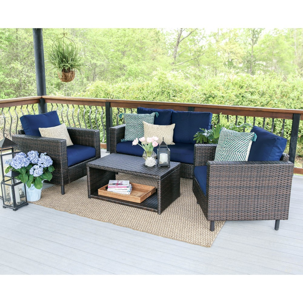 Image of 4pc Draper All-Weather Wicker Chat Set Navy - Leisure Made, Blue