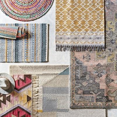 Damask Tufted Vintage Wool Rug