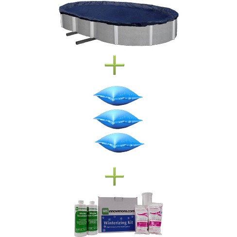16x25 Blue Oval Above Ground Pool Cover + 3 Winter Air Pillows + Winterizing Kit - image 1 of 4