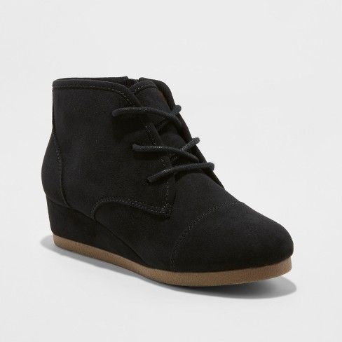 b079ecc79 Girls' Mad Love Shelby Wedge Lace Up Fashion Boots - Black 1 : Target