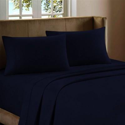 King 600 Thread Count Cotton Rich Sateen Sheet Set Indigo - Color Sense