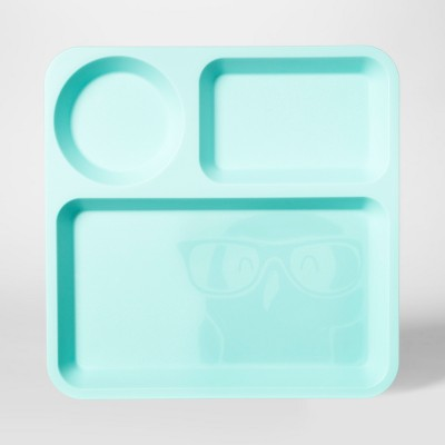 10  Plastic Kids Square Divided Plate Light Blue - Pillowfort™
