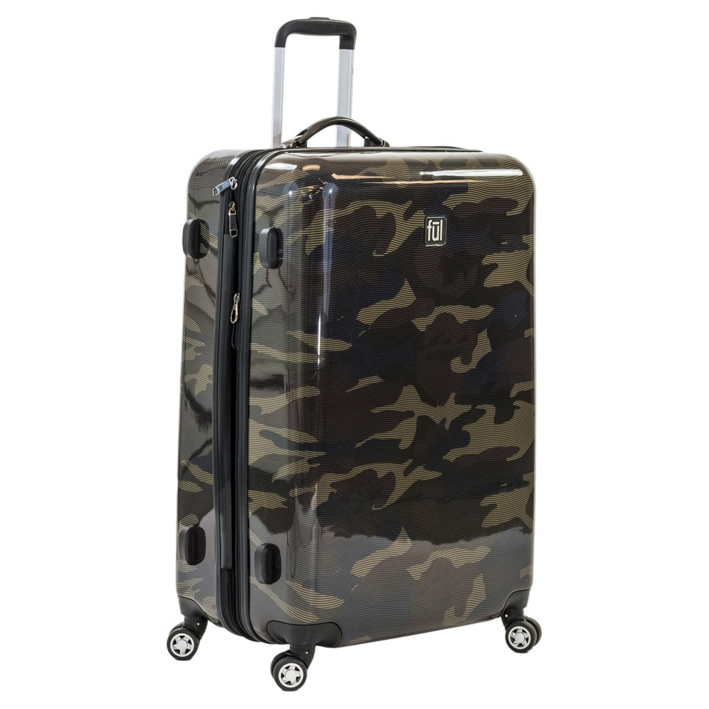 Ful 28 Abs Expandable Hardside Spinner Suitcase - Camo, Green