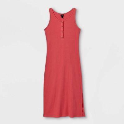 Girls' Rib-Knit Midi Sleeveless Dress - art class™