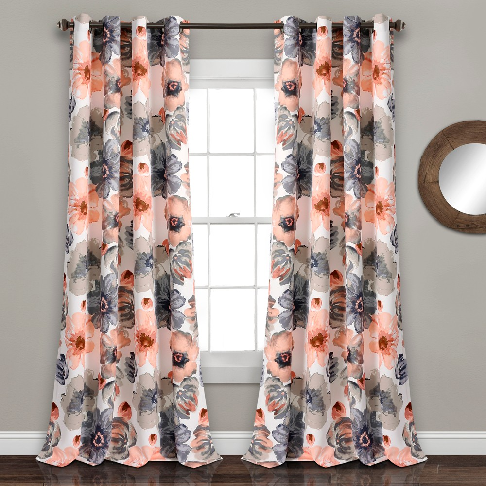 Set of 2 (95x52) Leah Grommet Top Room Darkening Curtain Panels Coral/Gray - Lush Décor Reviews