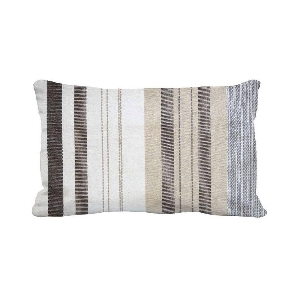 Image of Woven Stripe Oversized Lumbar Pillow Neutral Multi - Threshold
