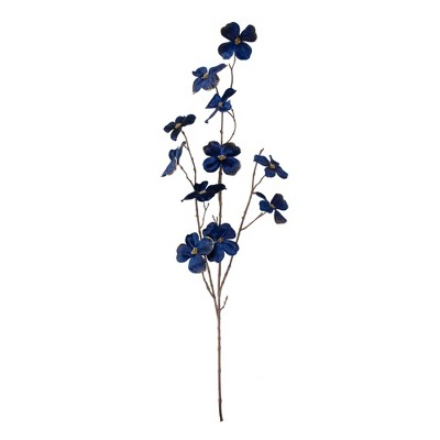 "Northlight 39"" Blue Velvet Artificial Dogwood Floral Spray"