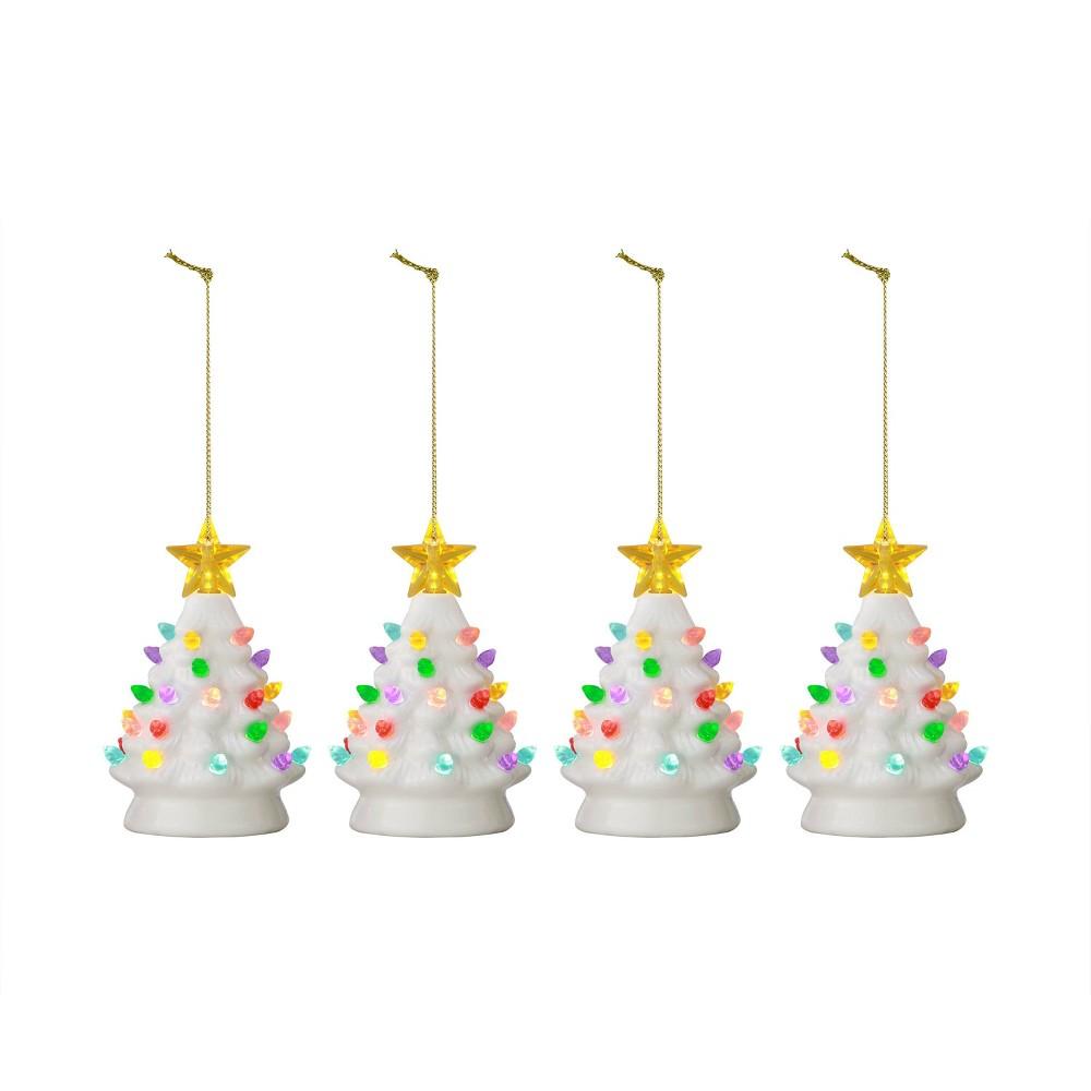 """Image of """"4pc/5.5"""""""" Nostalgic Trees Decorative Figurine White - Mr. Christmas"""""""