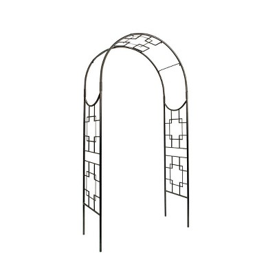 "98"" Tall Handcrafted Iron Square -On- Square Garden Arbor Graphite Powder Coat Finish - Achla Designs"