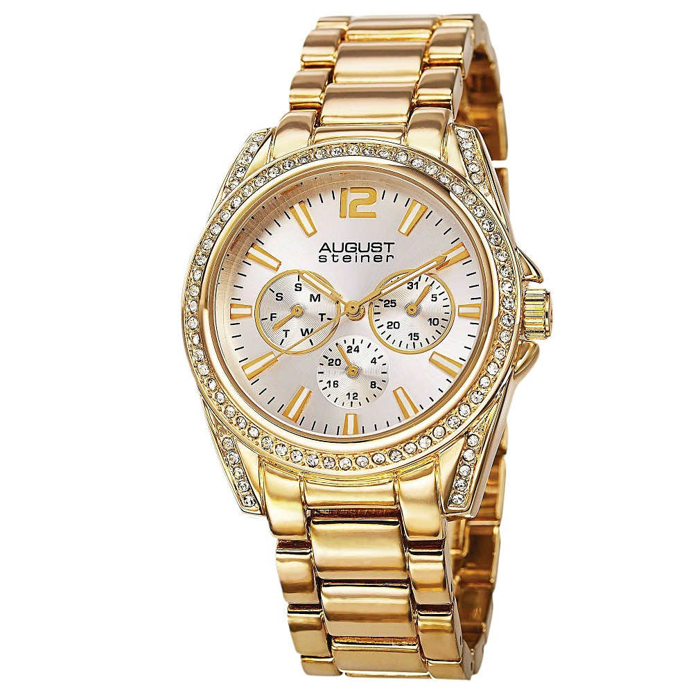 Women's August Steiner Quartz Multifunction Elegant Bracelet Watch - Gold, Multi-Colored