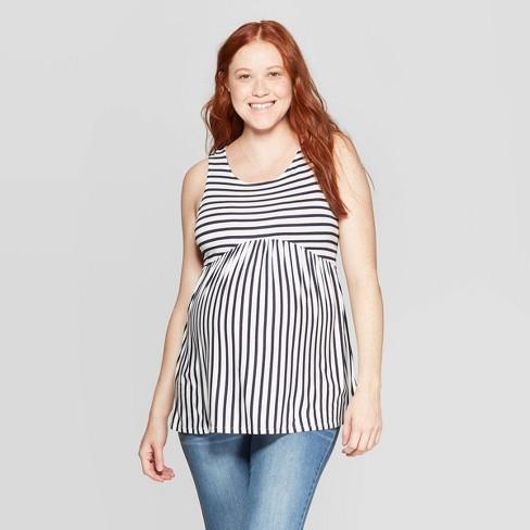 6397c004dfe13 Maternity Striped Sleeveless Scoop Neck T-Shirt - Isabel Maternity by Ingrid  & Isabel™ Navy