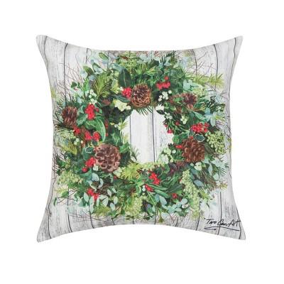 """C&F Home 18"""" x 18"""" Christmas Wreath Indoor/Outdoor Pillow"""