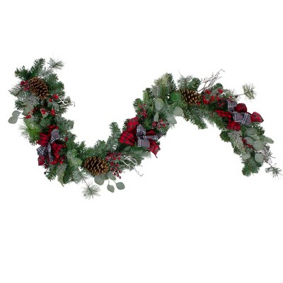 "Northlight 6' x 12"" Dual Plaid and Berries Artificial Christmas Garland - Unlit"