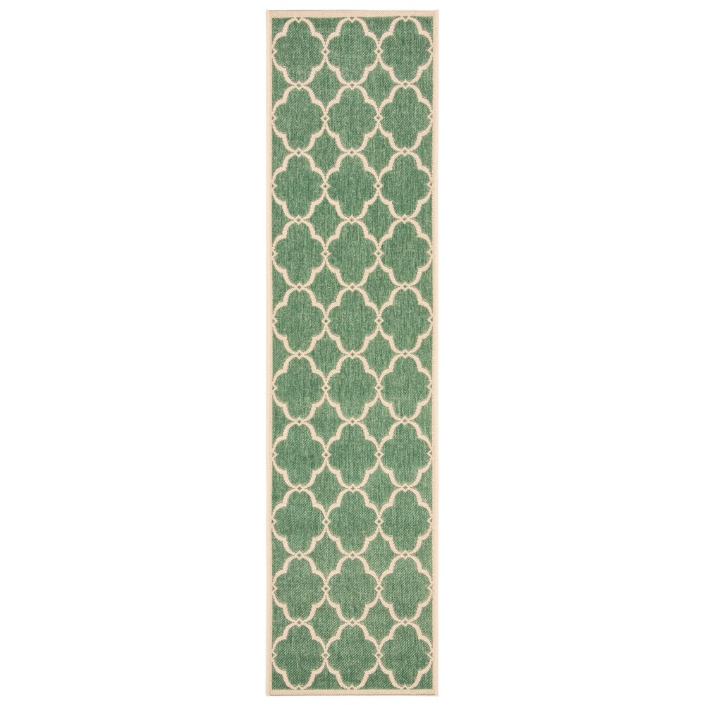 2'X8' Geometric Loomed Runner Green/Cream (Green/Ivory) - Safavieh