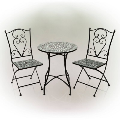 Marbled Glass Mosaic Bistro Set & Two Foldable  Chairs - Alpine Corporation