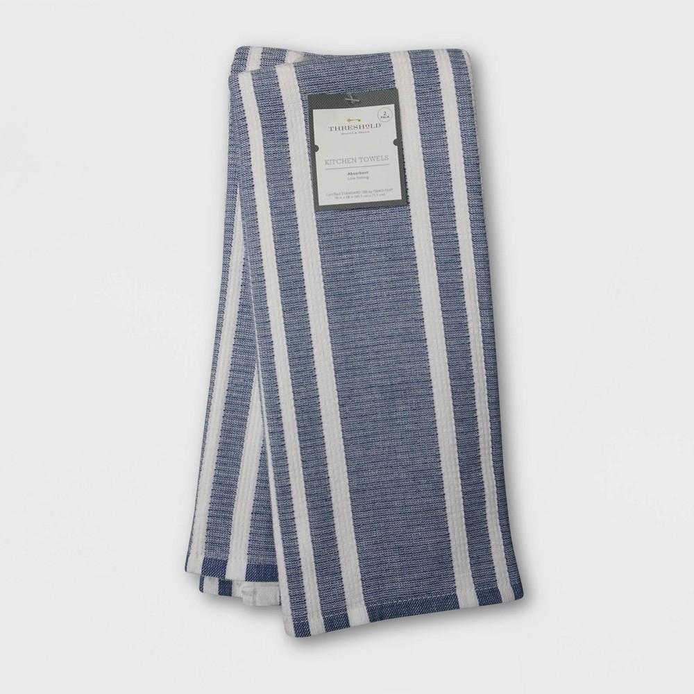 2pk Cotton Striped Terry Kitchen Towels Dark Blue Threshold 8482