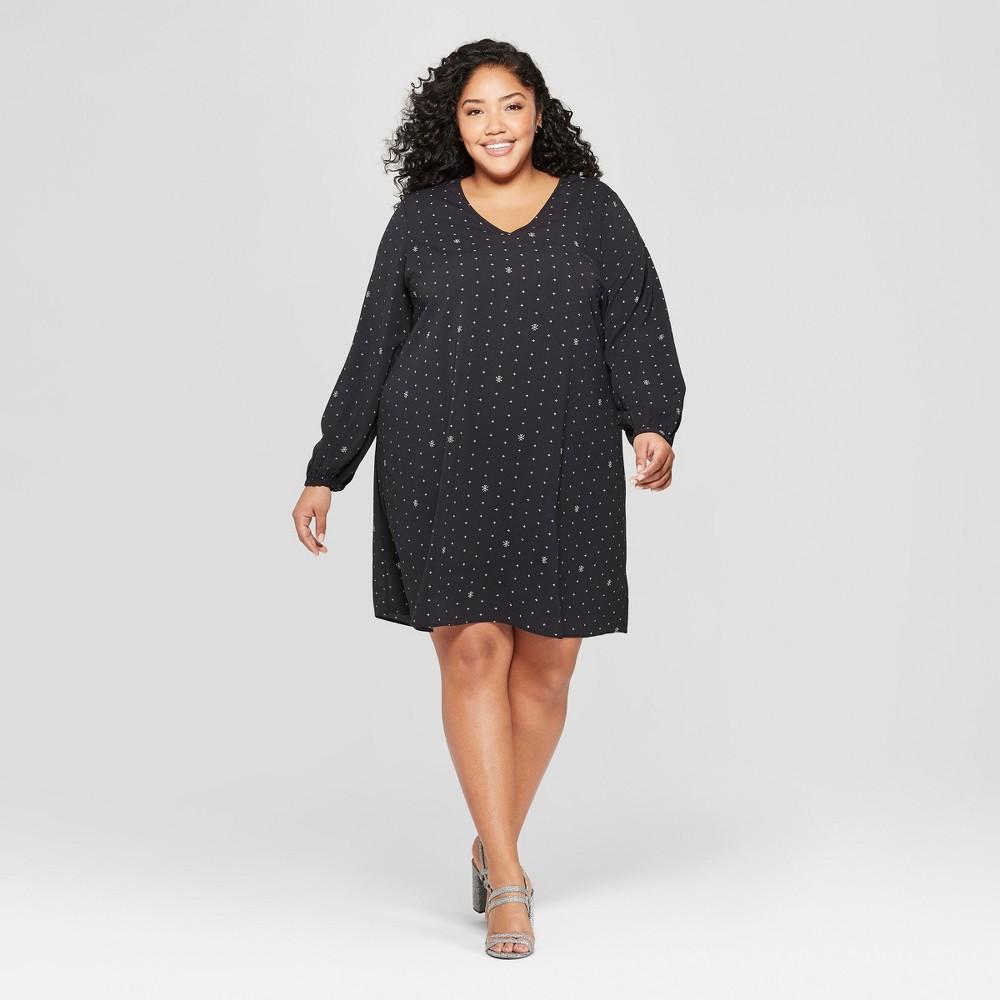 Women's Plus Size Printed Shift Dress - Ava & Viv Black X